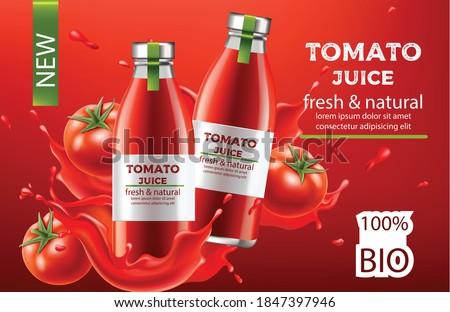 Two bottles of tomato juice containing vitamins isolated over white background. Vertical shot. Fresh Stock photo © vkstudio