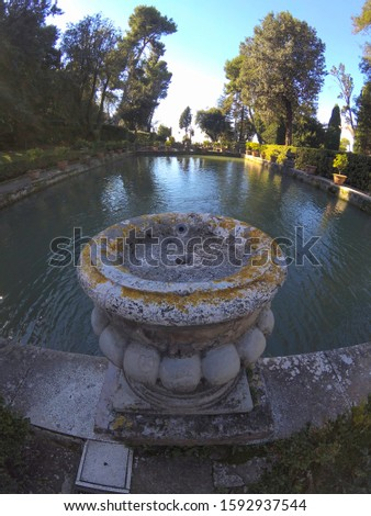 Antique historic fountain, iconic landmark in Villa d'Este, Tivo Stock photo © Zhukow