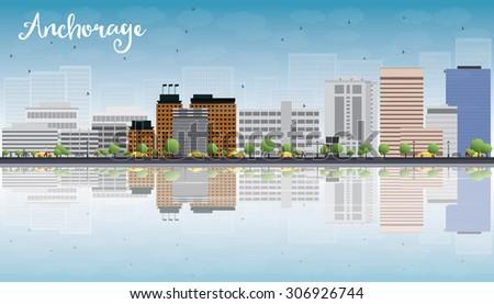Anchorage (Alaska) Skyline with Grey Buildings, Blue Sky and cop Stock photo © ShustrikS