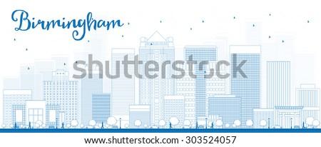 Outline Birmingham (Alabama) Skyline with Blue Buildings and cop Stock photo © ShustrikS