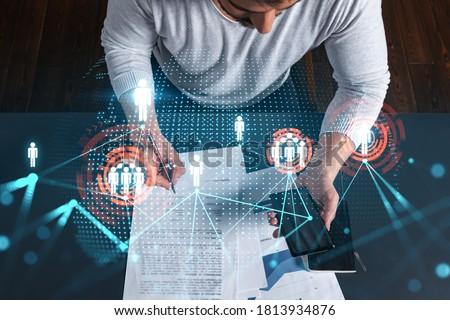 Promóció technológia internet jóképű férfi ajánl letöltés Stock fotó © benzoix