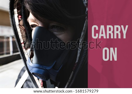 carry on text woman surviving pandemic with a gas mask on the stock photo © giulio_fornasar