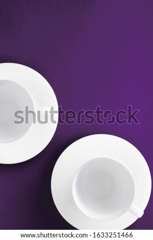 White tableware crockery set, empty cup on purple flatlay backgr Stock photo © Anneleven