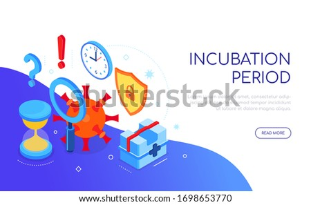 Coronavirus incubation period - colorful isometric web banner Stock photo © Decorwithme