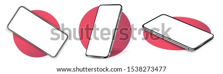 Realistic vector flat mock-up smartphone with blank white screen. Scale image any resolution Stock photo © karetniy