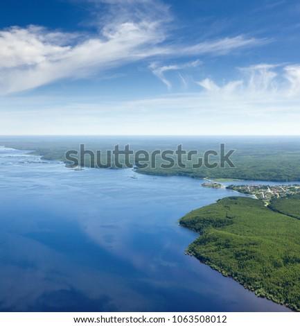 Légifelvétel nagy folyó szépség nyár nap Stock fotó © olira