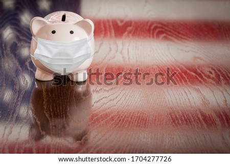 Piggy Bank Wearing Medical Face Mask With American Flag Reflecti Stock photo © feverpitch