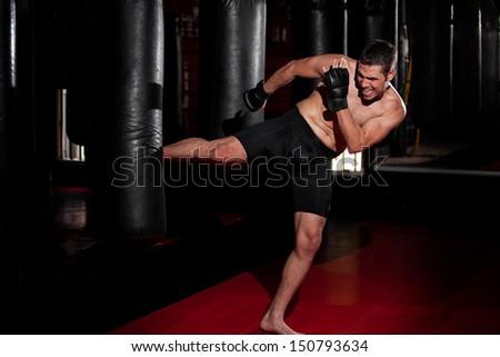 Vadászrepülő gyakorol homokzsák férfi tetoválás piros Stock fotó © Jasminko