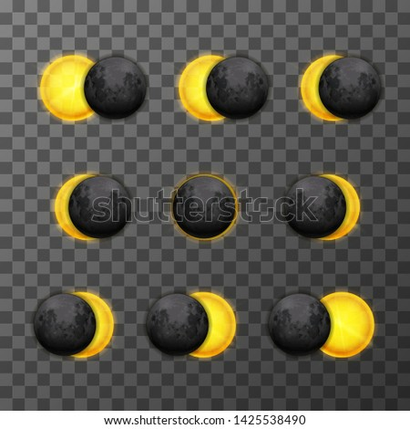 Nine eclipse stages with realistic satellite moon and star sun on transparent background Stock photo © evgeny89