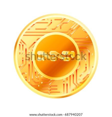 Fényes arany érme mikrocsip minta felirat Stock fotó © evgeny89