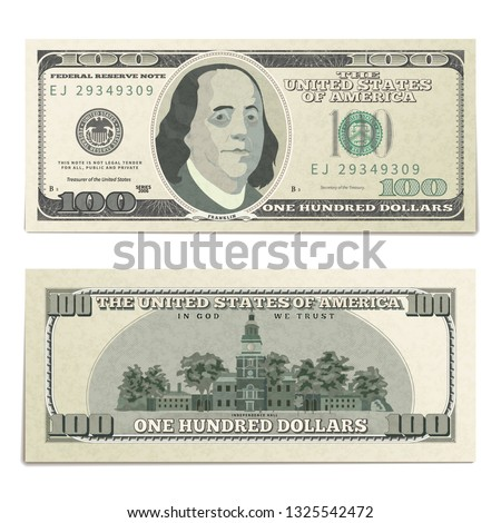 One hundred USA dollars banknote, back side coupure in isometric view on white Stock photo © evgeny89
