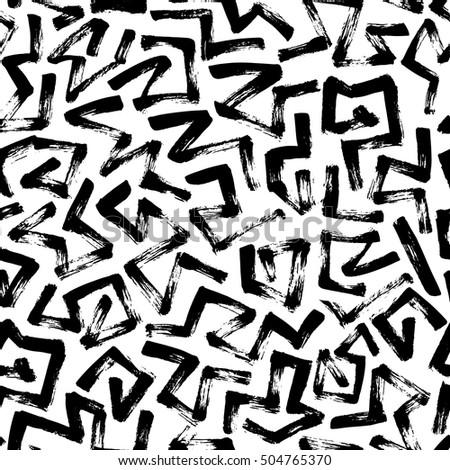 Rhombus Rough Hand Drawn Lines. Vector Seamless Black and White Pattern Stock photo © samolevsky