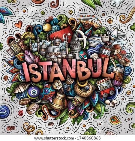 Стамбуле рисованной Cartoon иллюстрация смешные Сток-фото © balabolka
