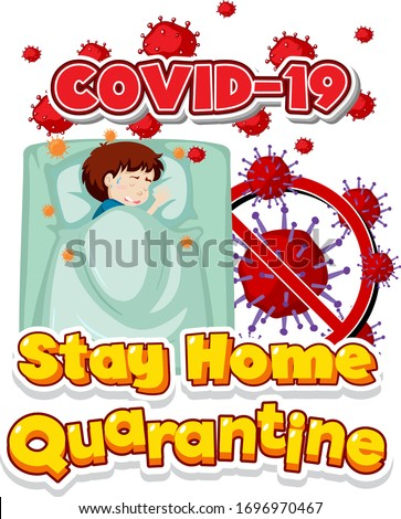 Font design for word stay home quarantine with sick boy in bed Stock photo © bluering