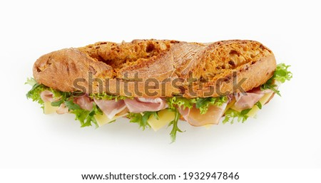 Tasty homemade sandwiches Baguettes with various healthy ingredients. Breakfast take away concept Stock photo © dash