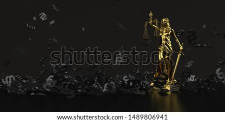 Black paragraphs with a golden lady justice statue. 3d illustrat Stock photo © limbi007