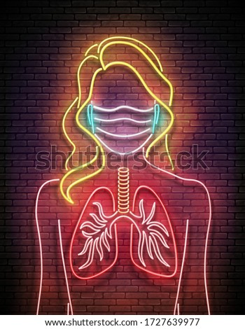 Glow Female Silhouette with Healthy Lungs and Face Mask Protecti Stock photo © lissantee
