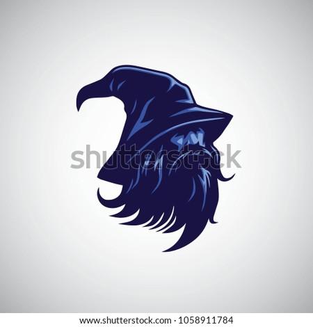 Siyah büyücü kafa maskot siyah beyaz ikon Stok fotoğraf © patrimonio