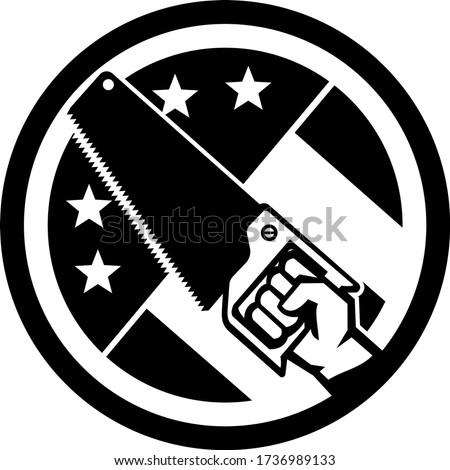 Carpenter Hand Holding Crosscut Saw USA Flag Side Circle Icon Black and White Stock photo © patrimonio