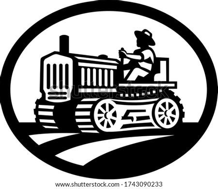 Organik çiftçi sürücü bağbozumu çiftlik traktör Stok fotoğraf © patrimonio