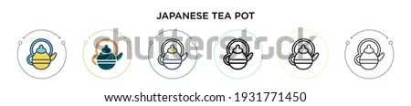 kettle and two cups icon vector outline illustration Stock photo © pikepicture