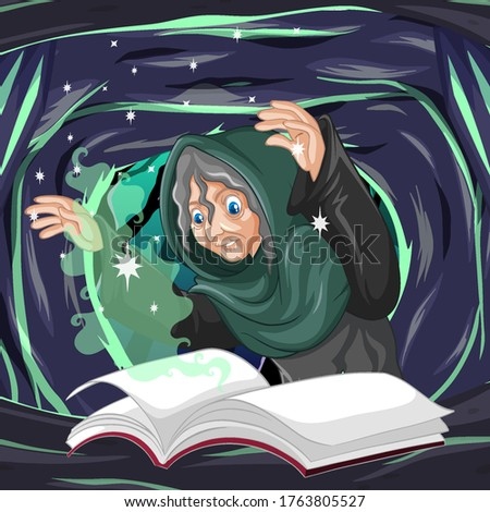 Old witch with spell and book cartoon style on dark cave backgro Stock photo © bluering