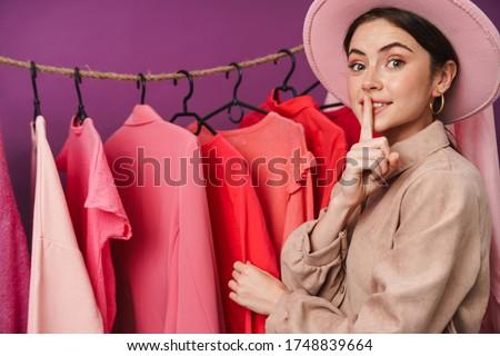 Fotoğraf mutlu kafkas kadın sessizlik Stok fotoğraf © deandrobot