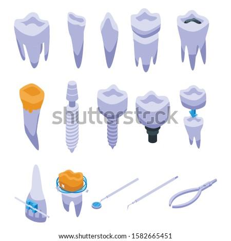Tandarts tand implantaat isometrische icon vector Stockfoto © pikepicture