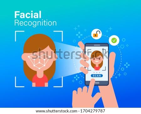 Biometric facial recognition software app technology for face identity verification identification c Stock photo © Maridav