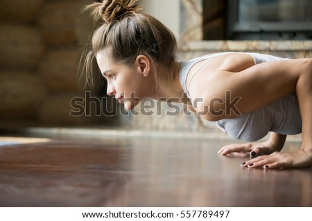 Jogi kobieta fitness stanowią pompek naciśnij Zdjęcia stock © Maridav