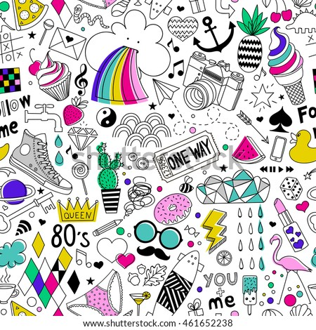 Iced Coffee hand drawn doodles seamless pattern Stock photo © balabolka