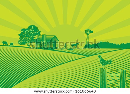 Farm scene in nature with barn and windmill Stock photo © bluering