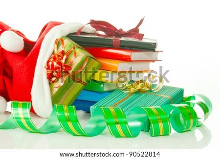 Christmas przedstawia ebook czytelnik książek worek Zdjęcia stock © AndreyKr