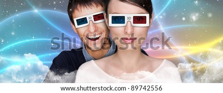 Portrait of young stylish modern woman wearing 3d glasses watchi Stock photo © HASLOO