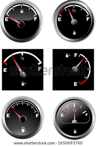 Set of six car dash boards petrol meter, fuel gauge. Vector illu Stock photo © leonido