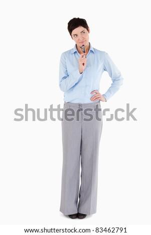 сомнительный деловая женщина очки белый служба Сток-фото © wavebreak_media