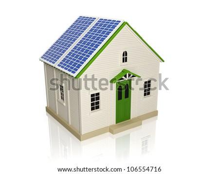 ilustração · 3d · energia · painéis · solares · casa · telhado · tecnologia - foto stock © kolobsek