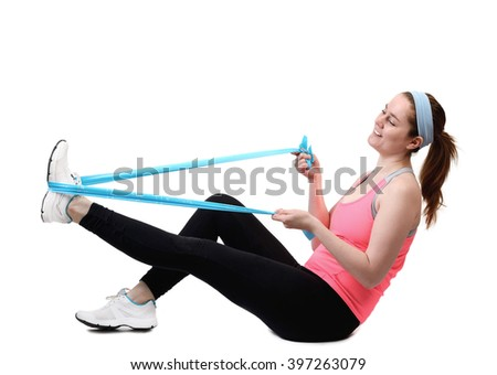 athletic young woman doing workout with physio tape latex tape Stock photo © juniart