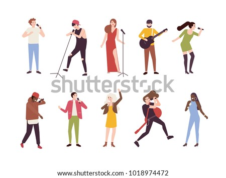 Singer Character With Mic Shows Singing Songs Or Talent Concert Stock photo © stuartmiles