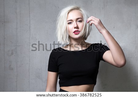 Fashion Woman with Black short hair style. Girl with fringe over Stock photo © Victoria_Andreas
