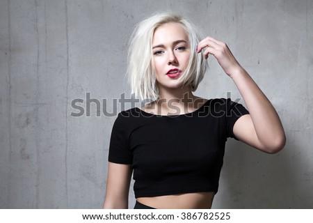 Mode Frau schwarz kurze Haare Stil Mädchen Stock foto © Victoria_Andreas