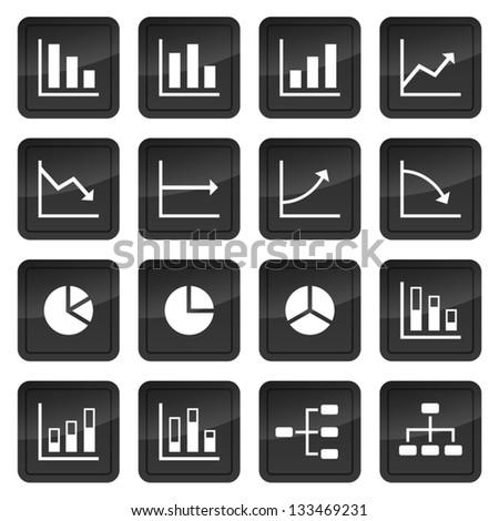 Icônes graphiques diagrammes noir boutons Photo stock © liliwhite