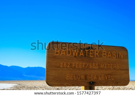 Stock photo: Sign board at the entrance of Death Valley National Park, Califo
