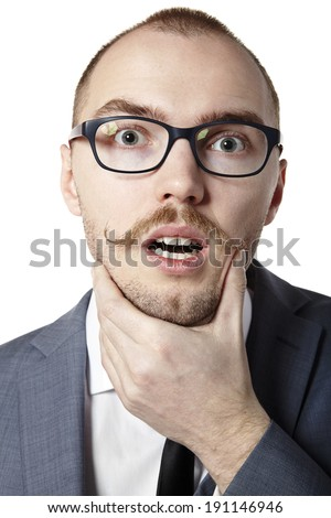 elegant business man holding his chin in  palm Stock photo © feedough