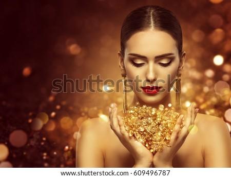 dourado · lábios · mulher · boca - foto stock © victoria_andreas