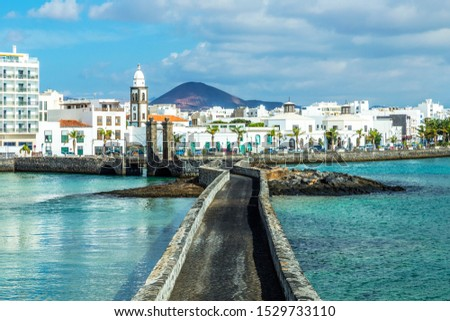 sea view at Castle of San Gabriel and Arrrecife, Lanzarote, Cana Stock photo © meinzahn