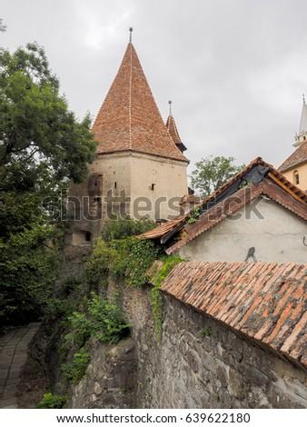 Shoemakers tower (Turnul Cizmarilor) part of  Sighisoara fortres Stock photo © pixachi
