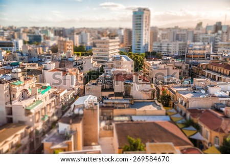 Southern part of Nicosia, aerial view with tilt-shif effect. Cyprus Stock photo © Kirill_M