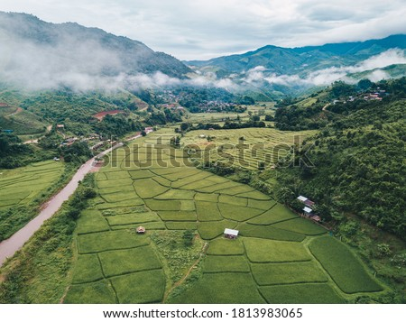 High angle view of small village with terraced field, Uttarkashi Stock photo © imagedb
