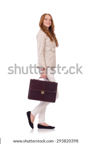 Cute smiling girl in light short coat with hanbag isolated on white Stock photo © Elnur